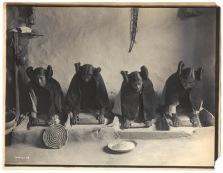 The mealing trough - Hopi ca. 1906 Four young Hopi women grinding grain.